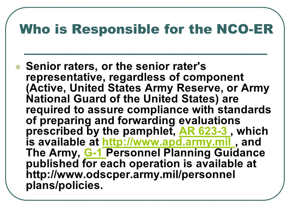 Who is Responsible for the NCO-ER