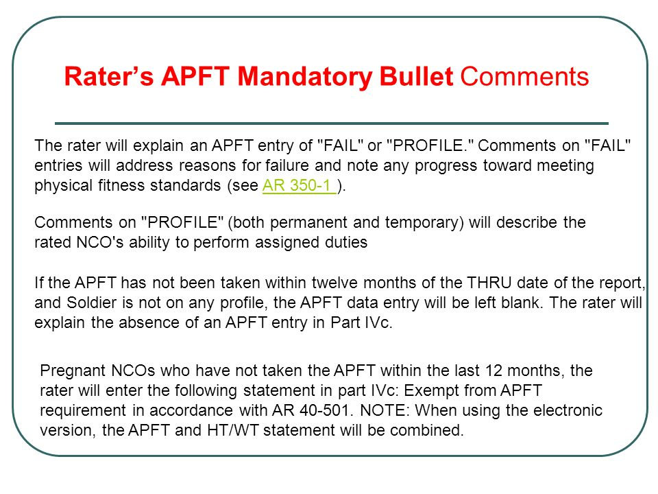 Rater's APFT Mandatory Bullet Comments