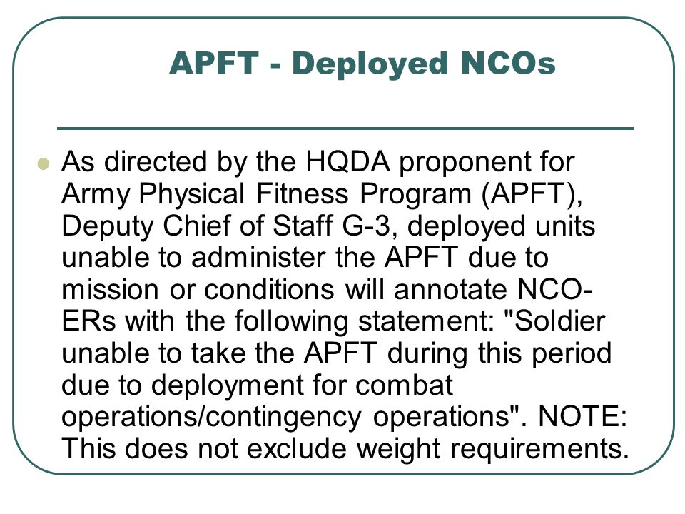 APFT - Deployed NCOs