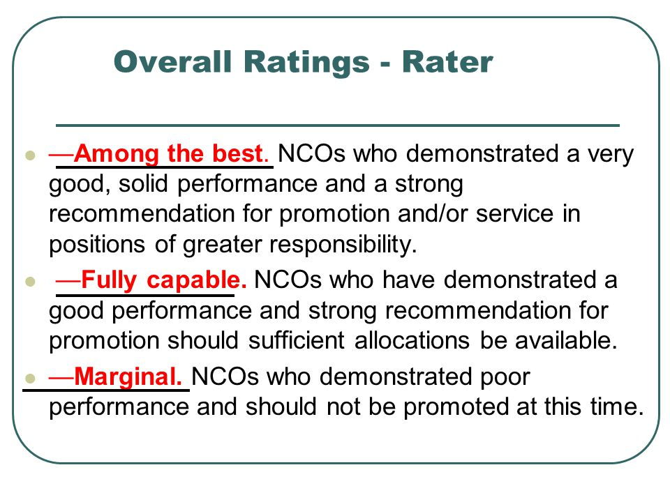 Overall Ratings - Rater