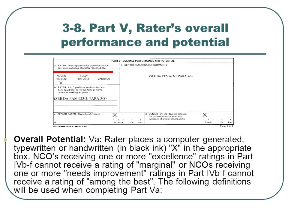 3-8. Part V, Rater's overall performance and potential