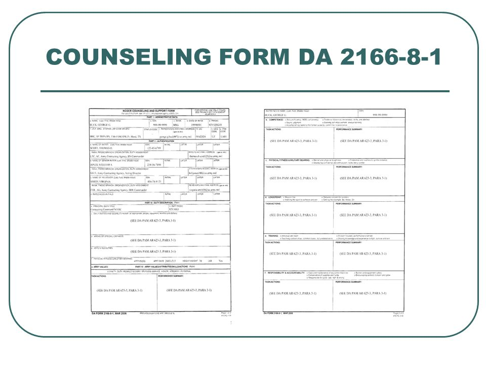 COUNSELING FORM DA 2166-8-1