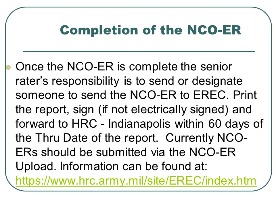 Completion of the NCO-ER