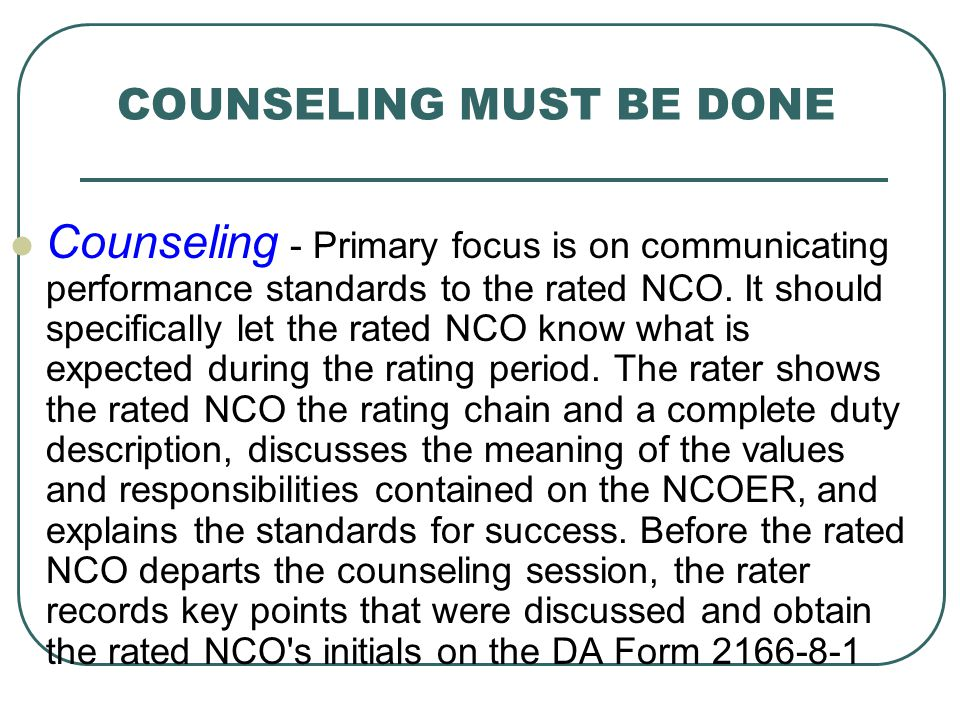 COUNSELING MUST BE DONE