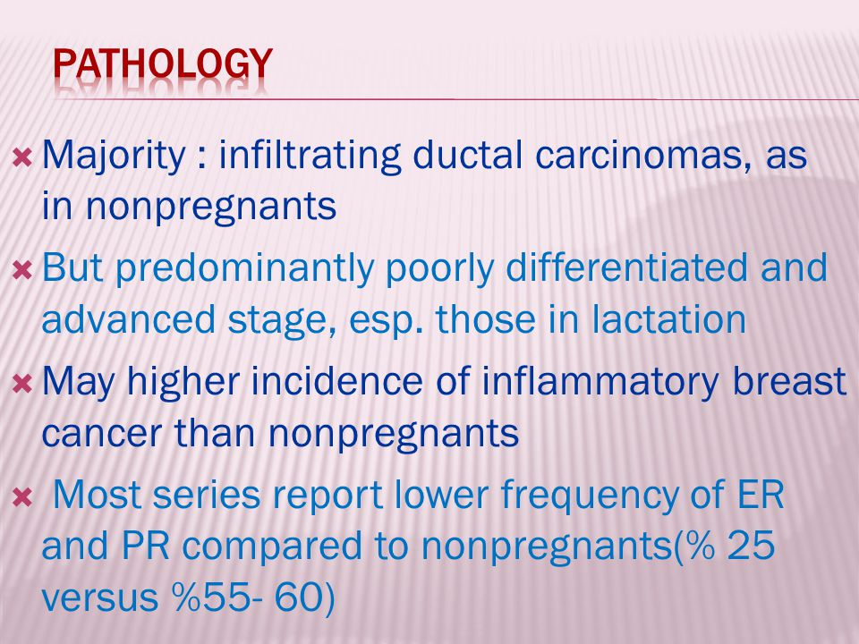Pathology Majority : infiltrating ductal carcinomas, as in nonpregnants.