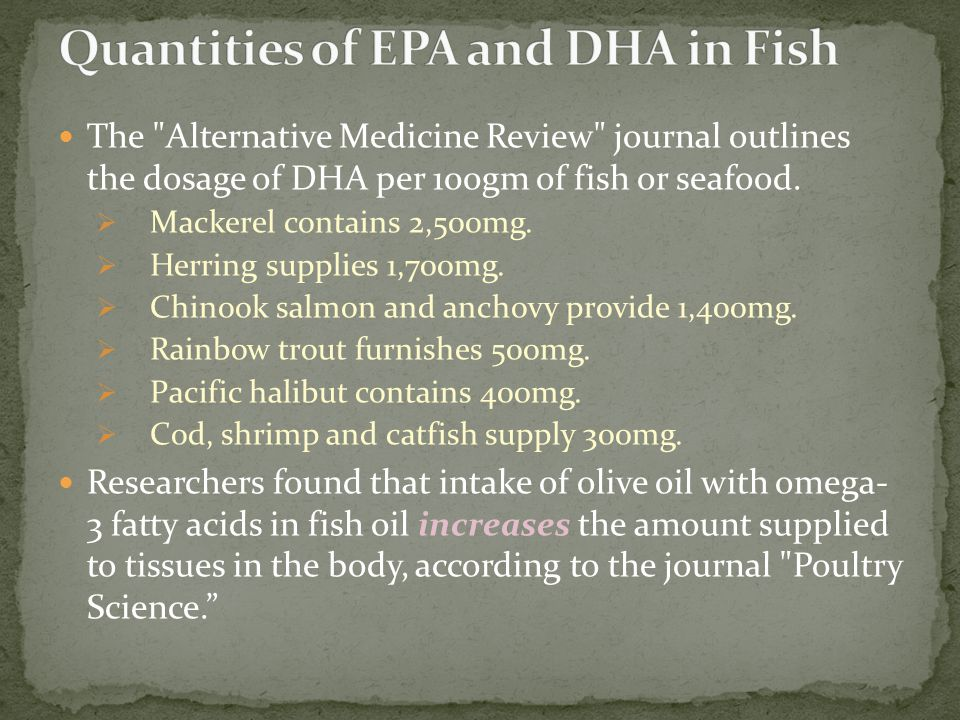 Quantities of EPA and DHA in Fish