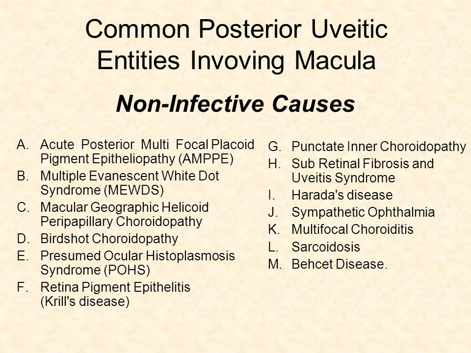 Common Posterior Uveitic Entities Invoving Macula