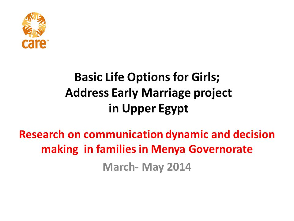 Basic Life Options for Girls; Address Early Marriage project in Upper Egypt