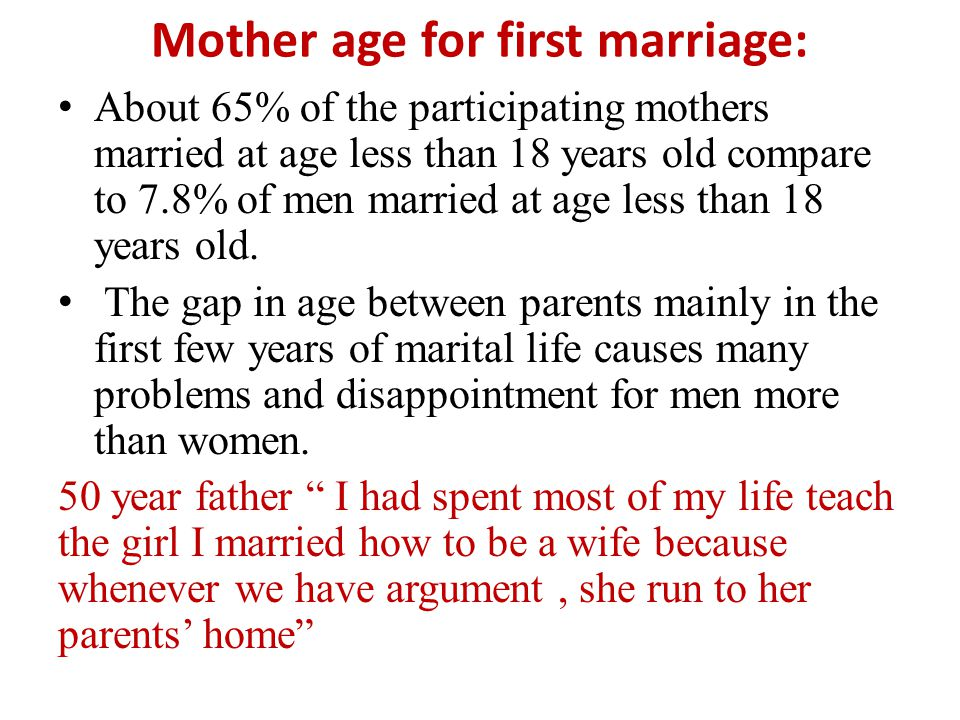 Mother age for first marriage: