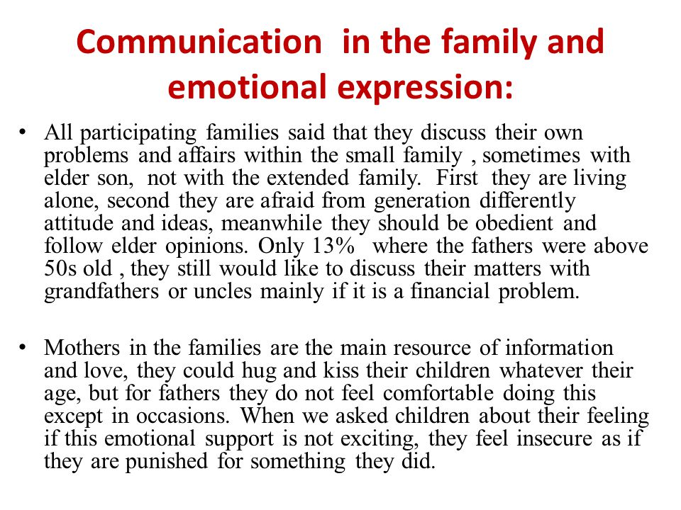 Communication in the family and emotional expression: