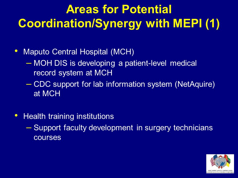 Areas for Potential Coordination/Synergy with MEPI (1)