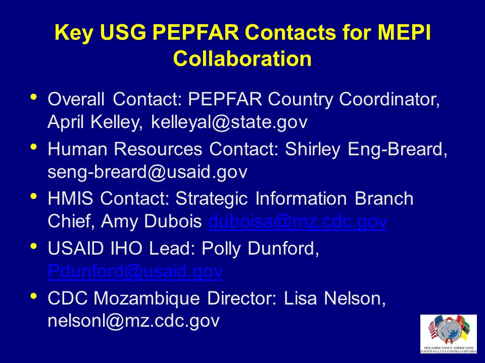 Key USG PEPFAR Contacts for MEPI Collaboration