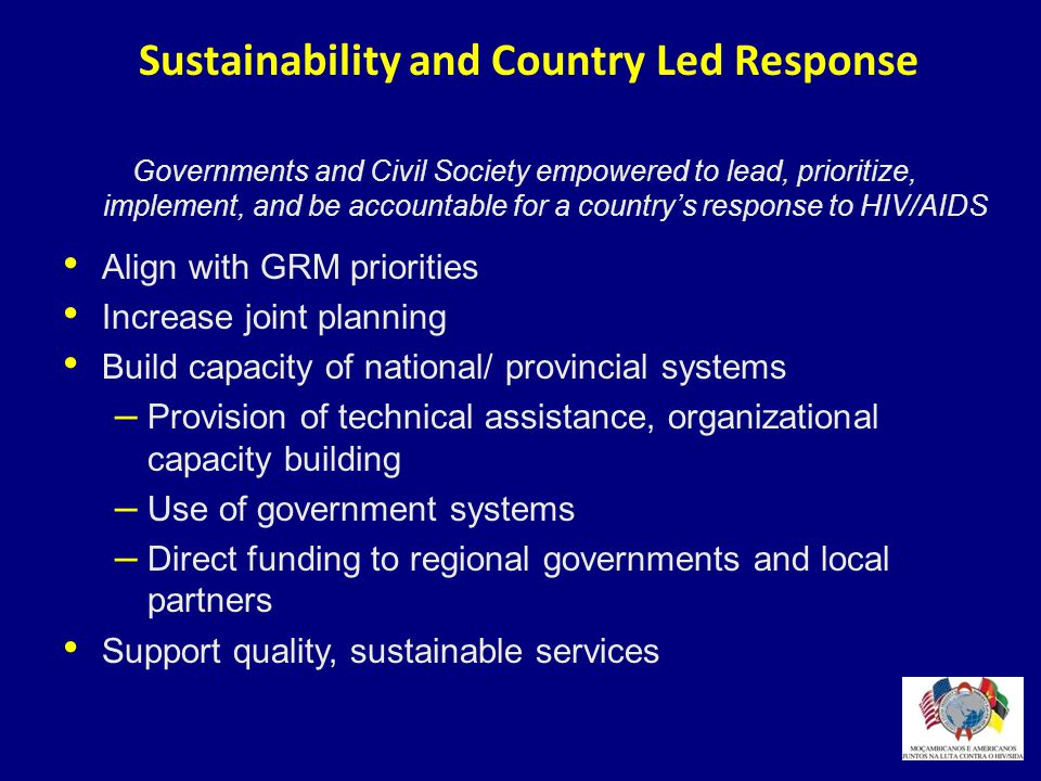 Sustainability and Country Led Response