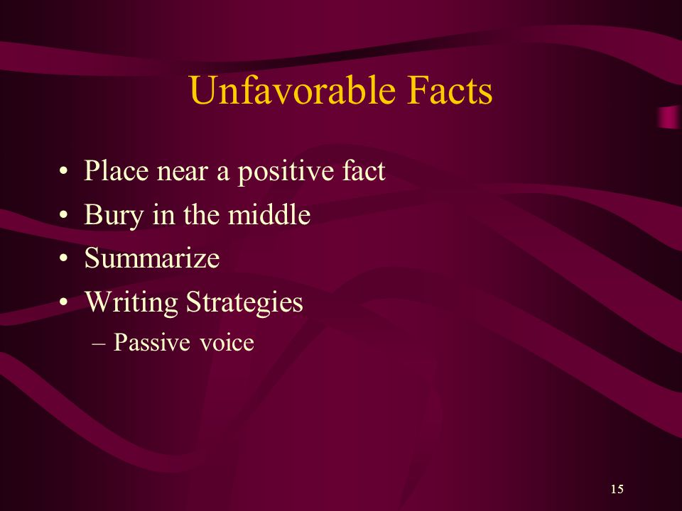 Unfavorable Facts Place near a positive fact Bury in the middle