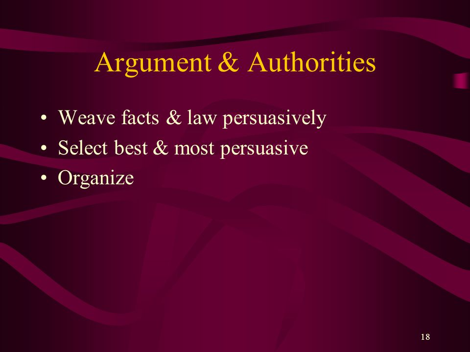 Argument & Authorities