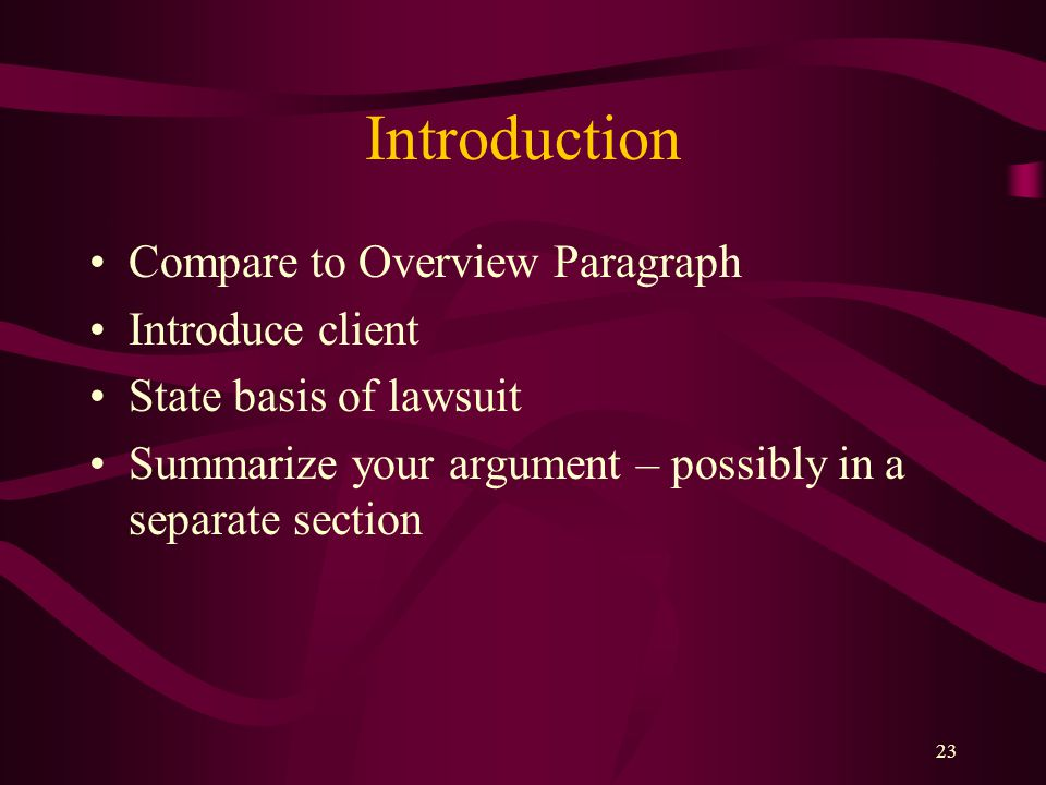 Introduction Compare to Overview Paragraph Introduce client
