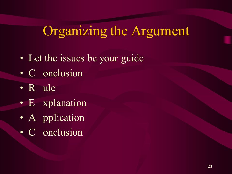 Organizing the Argument