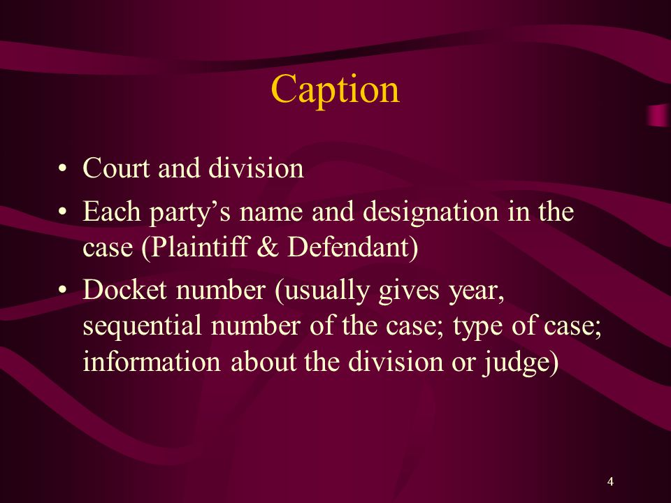 Caption Court and division