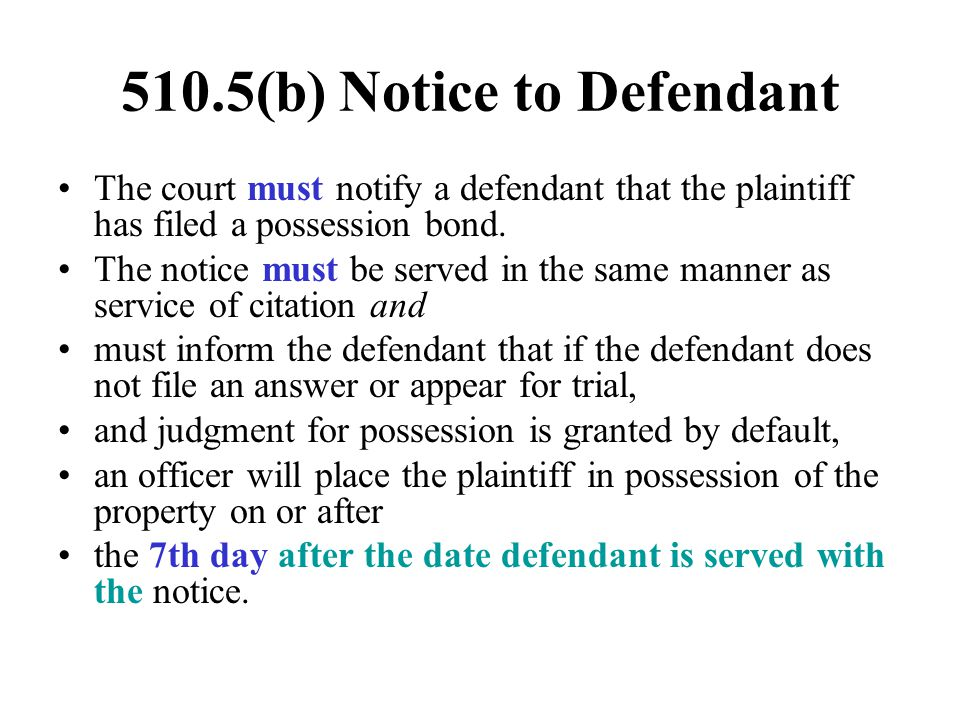 510.5(b) Notice to Defendant