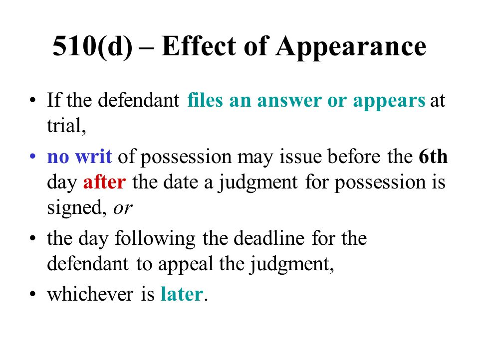 510(d) – Effect of Appearance