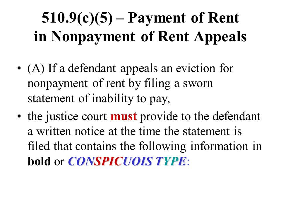 510.9(c)(5) – Payment of Rent in Nonpayment of Rent Appeals