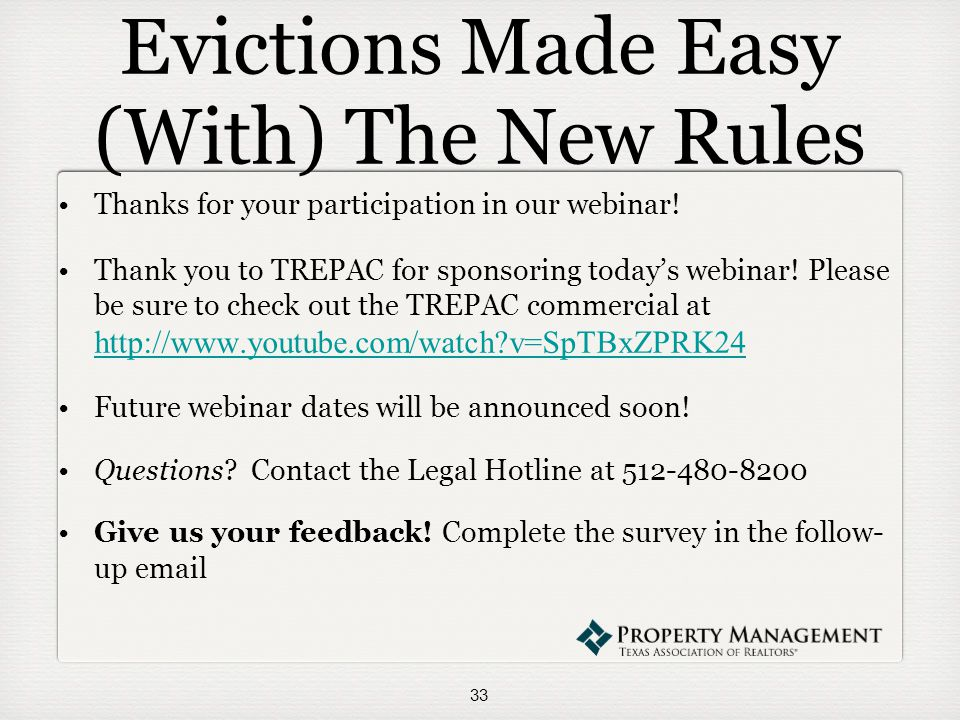Evictions Made Easy (With) The New Rules