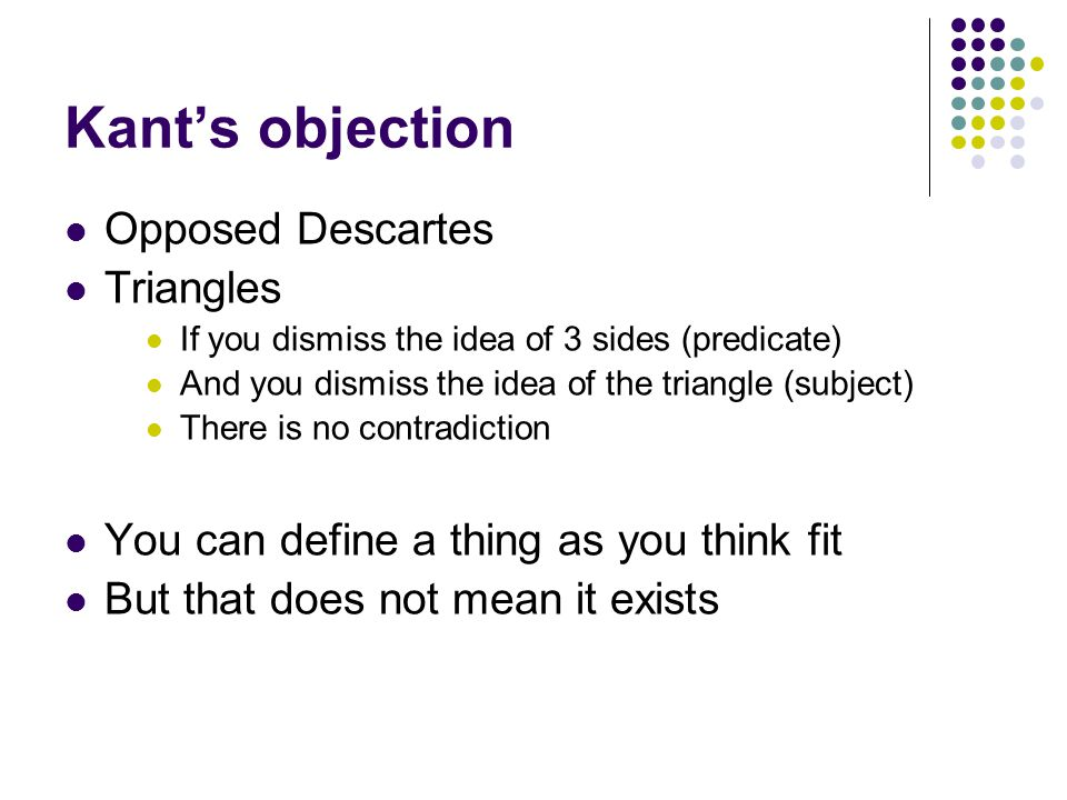 Kant's objection Opposed Descartes Triangles