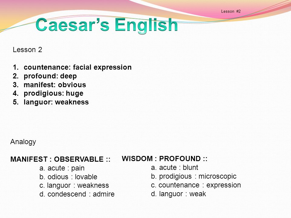 Caesar's English Lesson 2 countenance: facial expression