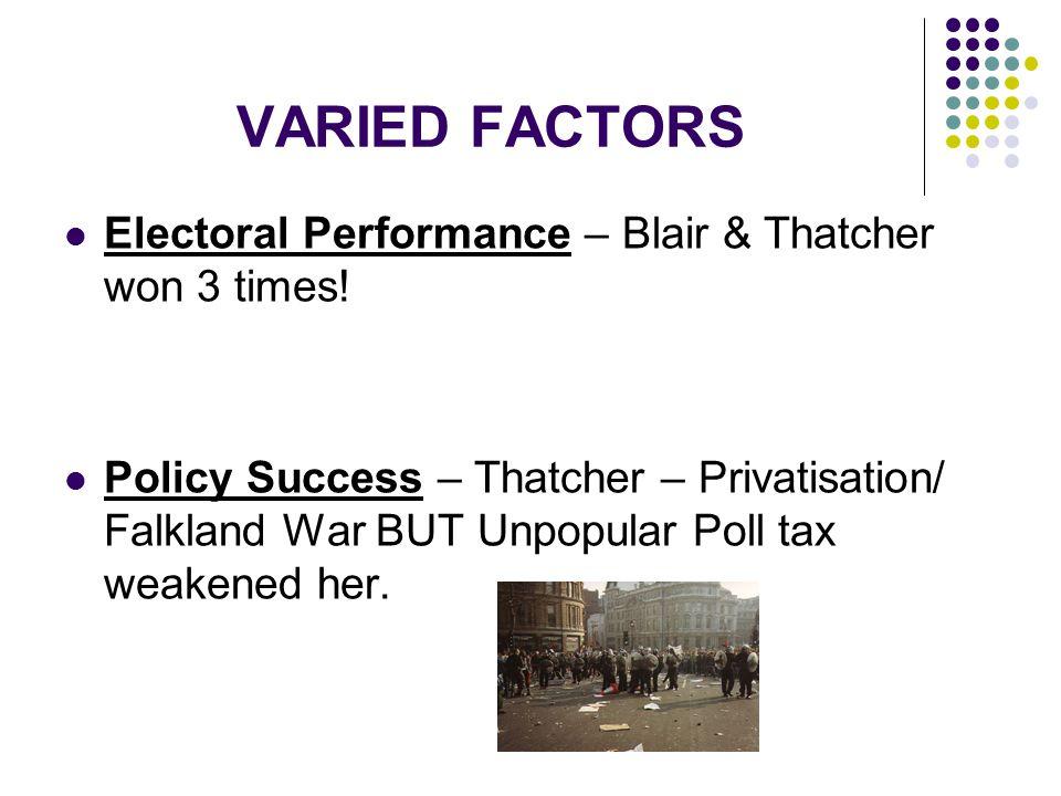 VARIED FACTORS Electoral Performance – Blair & Thatcher won 3 times!
