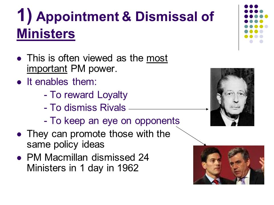 1) Appointment & Dismissal of Ministers