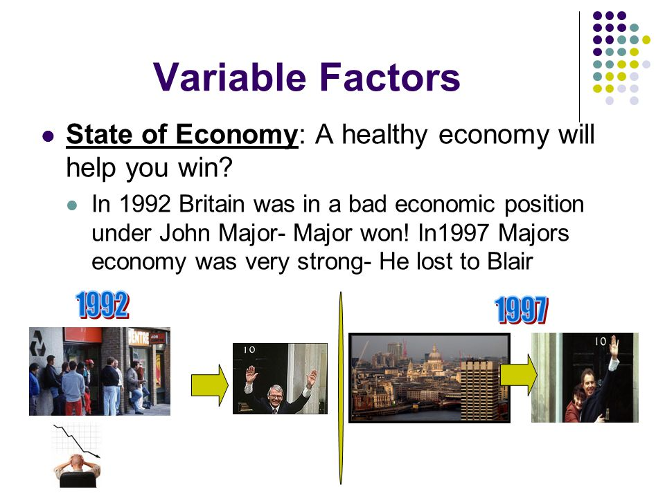 Variable Factors State of Economy: A healthy economy will help you win