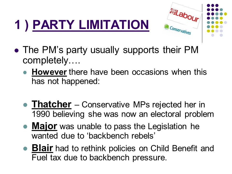1 ) PARTY LIMITATION The PM's party usually supports their PM completely…. However there have been occasions when this has not happened: