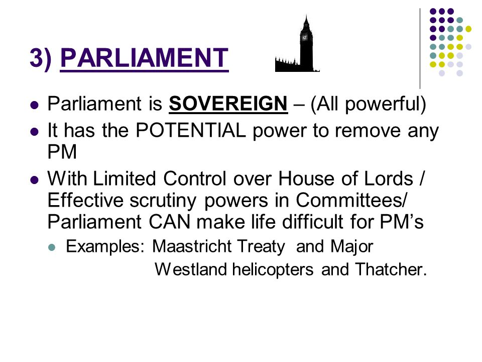 3) PARLIAMENT Parliament is SOVEREIGN – (All powerful)