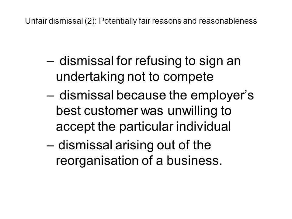 dismissal for refusing to sign an undertaking not to compete