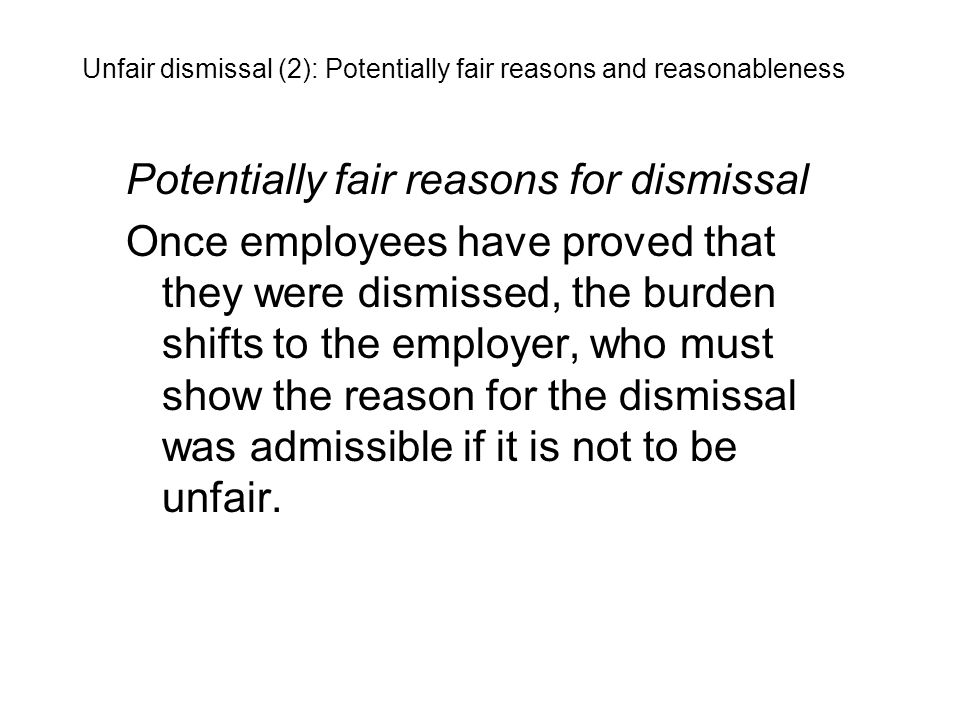 Potentially fair reasons for dismissal