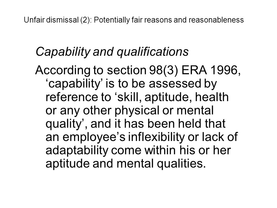 Capability and qualifications