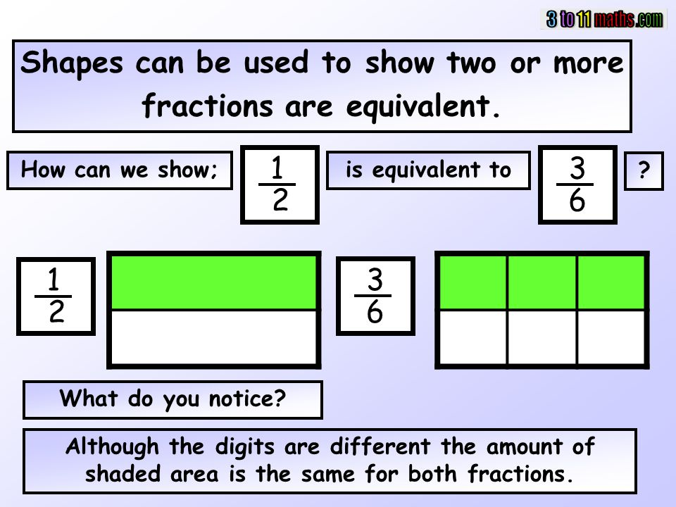 Shapes can be used to show two or more fractions are equivalent.
