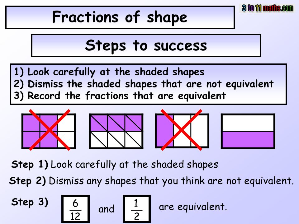 Fractions of shape Steps to success