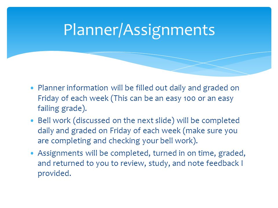 Planner/Assignments