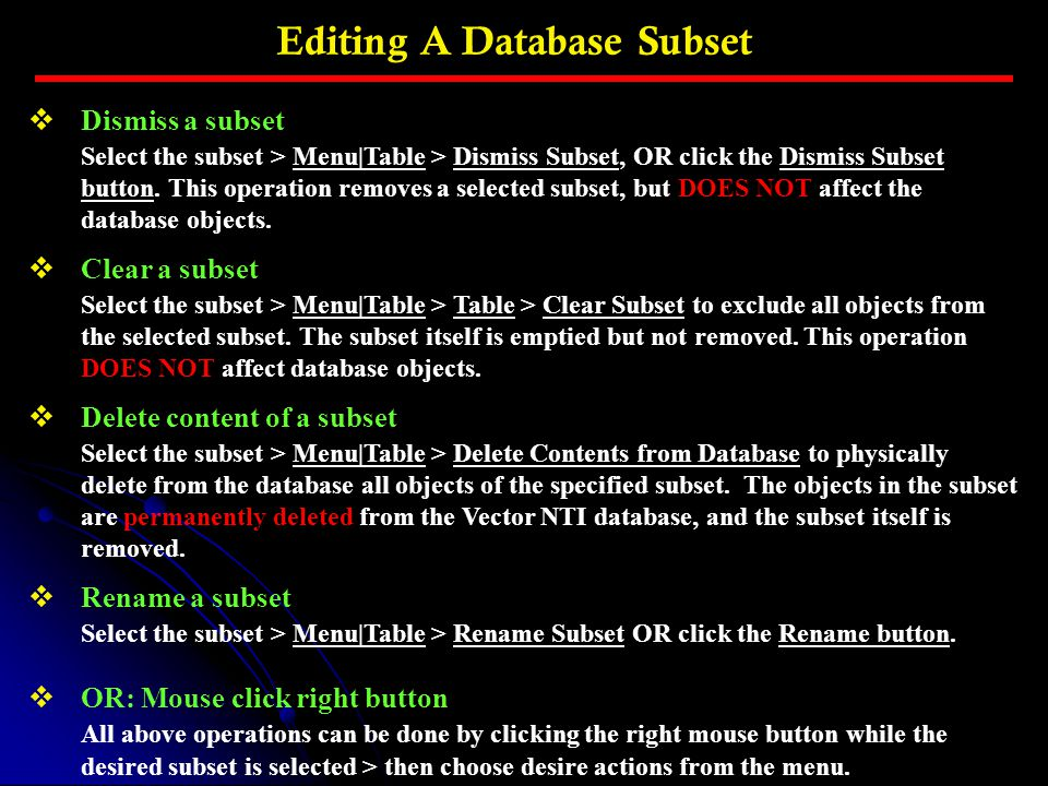Editing A Database Subset