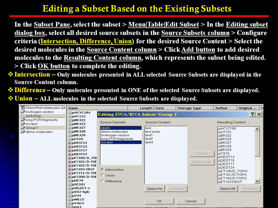 Editing a Subset Based on the Existing Subsets