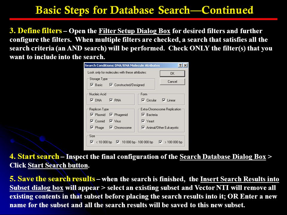 Basic Steps for Database Search—Continued