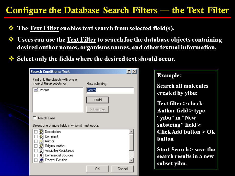 Configure the Database Search Filters — the Text Filter