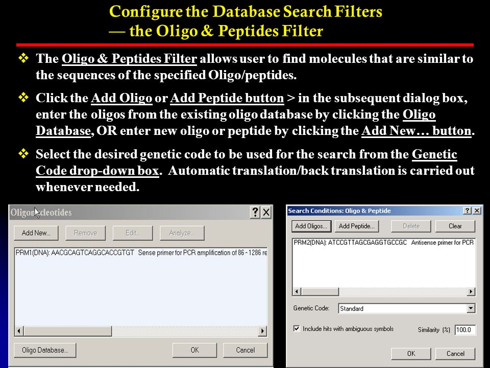 Configure the Database Search Filters — the Oligo & Peptides Filter