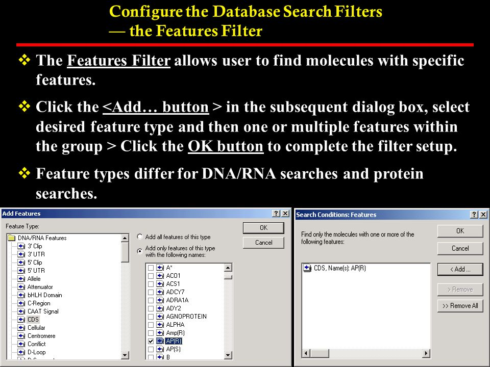 Configure the Database Search Filters — the Features Filter