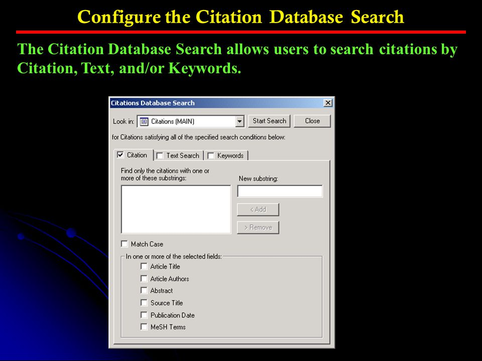 Configure the Citation Database Search
