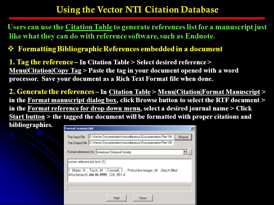 Using the Vector NTI Citation Database