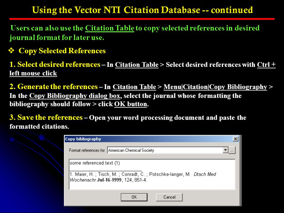 Using the Vector NTI Citation Database -- continued