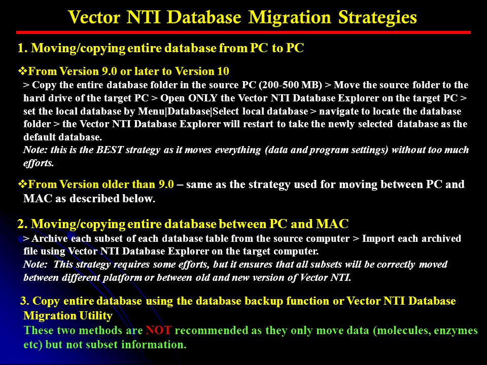 Vector NTI Database Migration Strategies