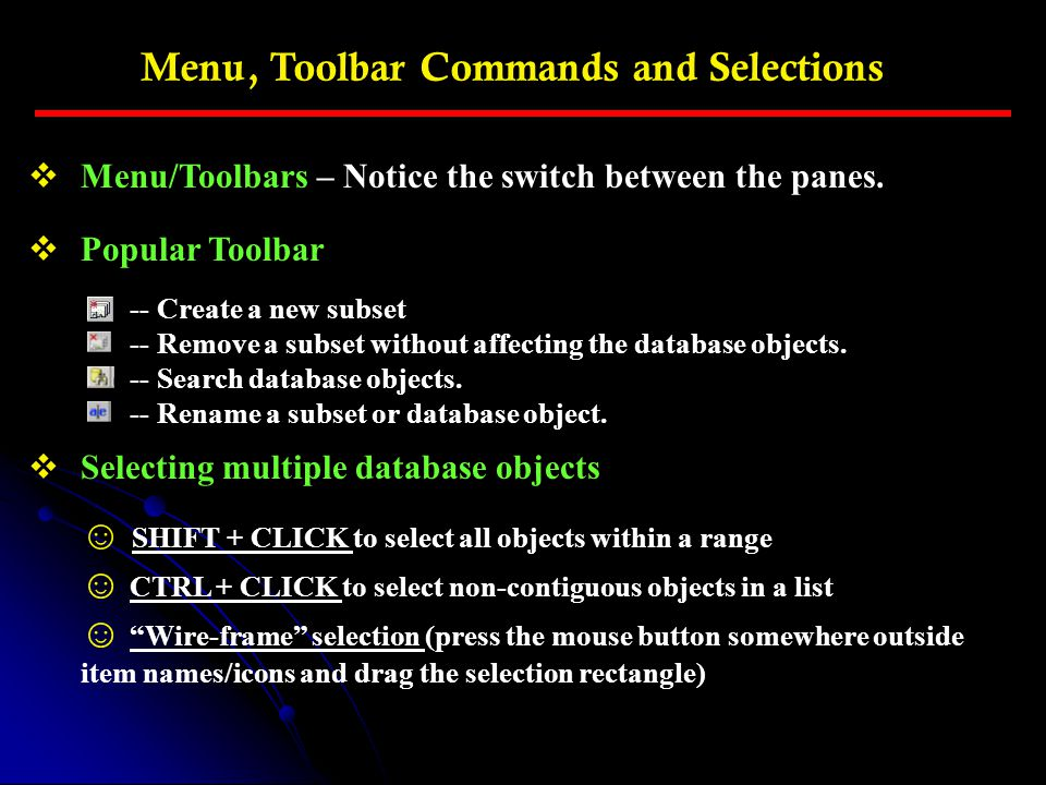 Menu, Toolbar Commands and Selections